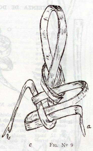 Haciendo otra enlazada con (b) se la hace penetrar en la anterior, como se aprecia en la figura 8. Se ajusta (a) de la misma figura y con la misma cola se
